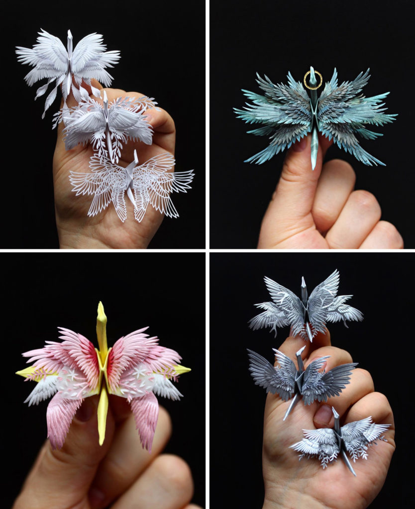 the Most Beautiful Paper Cranes with Feathery Details 5 834x1024 The Most Beautiful Paper Cranes with Feathery Details