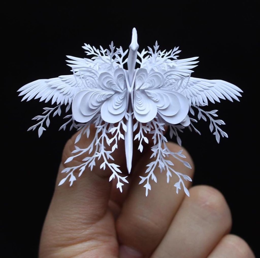 the Most Beautiful Paper Cranes with Feathery Details 8 1024x1015 The Most Beautiful Paper Cranes with Feathery Details