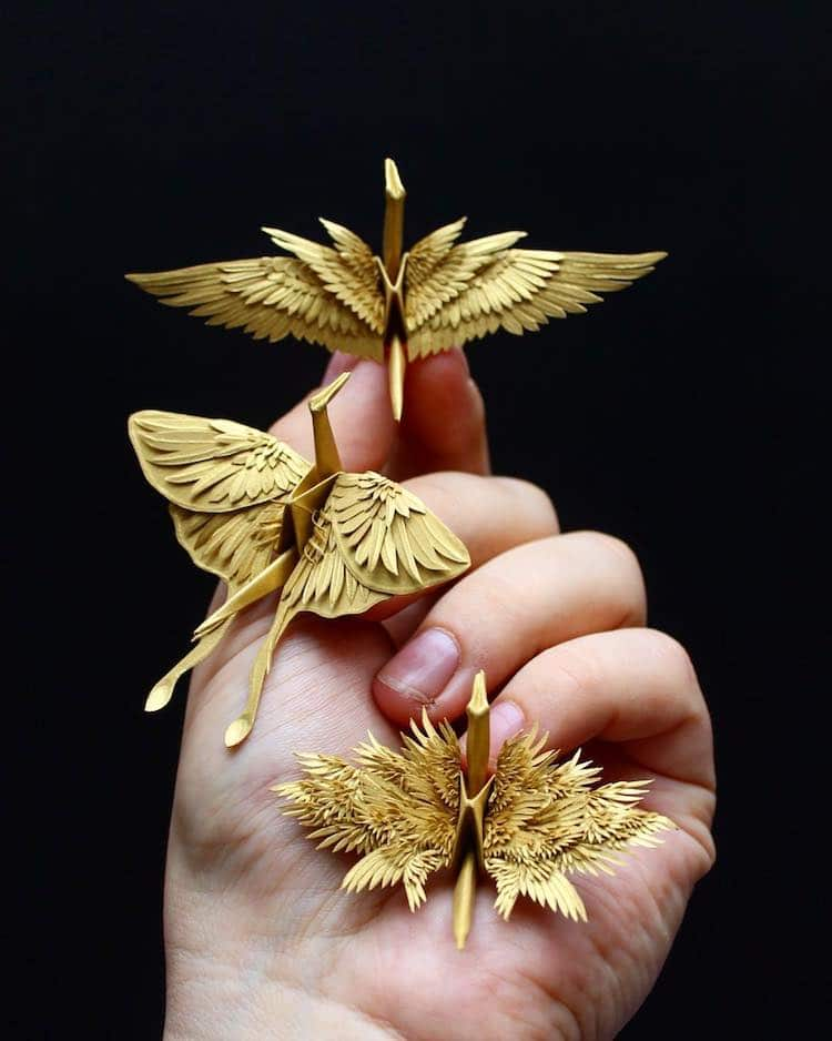 the Most Beautiful Paper Cranes with Feathery Details 9 The Most Beautiful Paper Cranes with Feathery Details