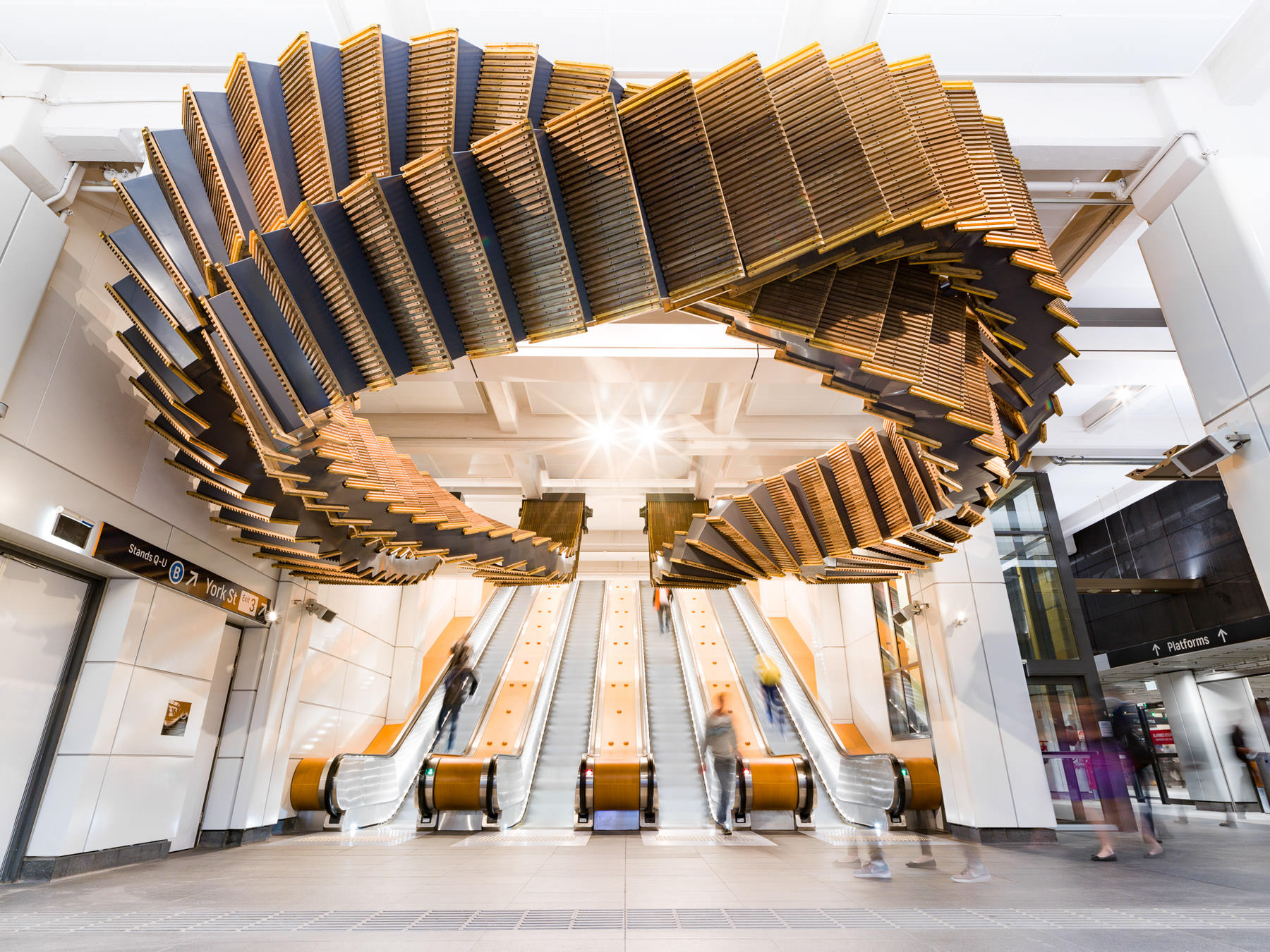 Incredible Sculptural Installation of the Old Wooden Escalators 1
