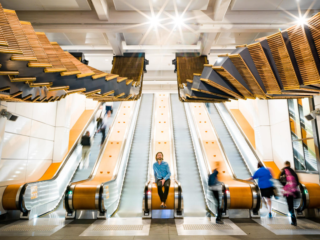 Incredible Sculptural Installation of the Old Wooden Escalators 6 1024x768 Incredible Sculptural Installation of the Old Wooden Escalators