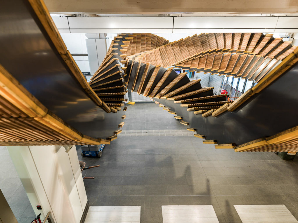Incredible Sculptural Installation of the Old Wooden Escalators 7 1024x768 Incredible Sculptural Installation of the Old Wooden Escalators