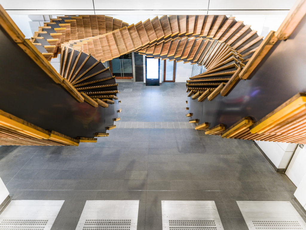Incredible Sculptural Installation of the Old Wooden Escalators 8 1024x768 Incredible Sculptural Installation of the Old Wooden Escalators